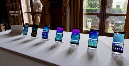 Kuvassa Samsung Galaxy Noten eri sukupolven malleja.