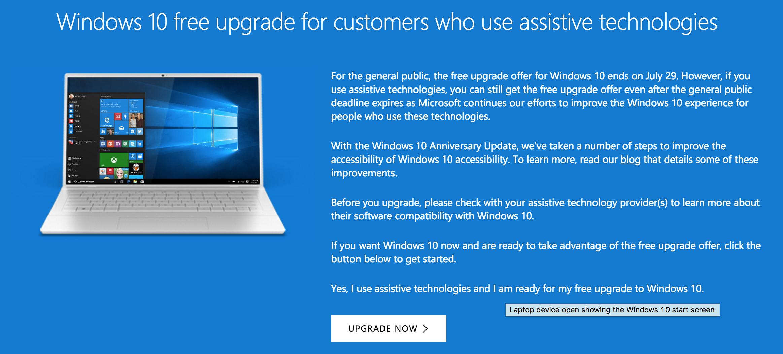 Windows 10 -päivitys on vielä tällä kikalla saatavissa ilmaiseksi.