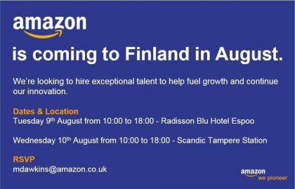 """Amazonin ilmoitus """"tulosta Suomeen""""."""