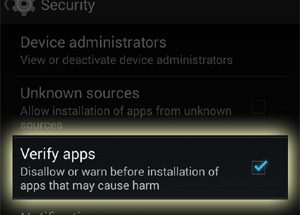 Androidin Verify apps -toiminto.