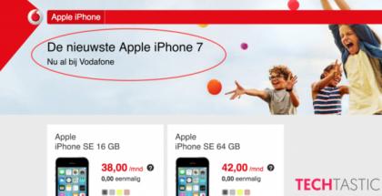 iPhone 7 -maininta Vodafonen sittemmin jo poistetulla sivulla.