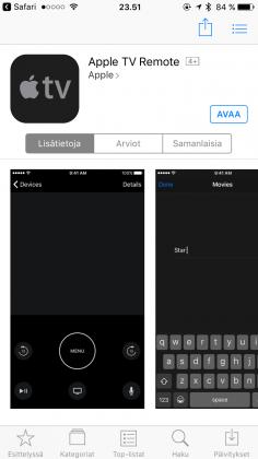 Apple TV Remote -sovellus on ladattavissa App Storesta.