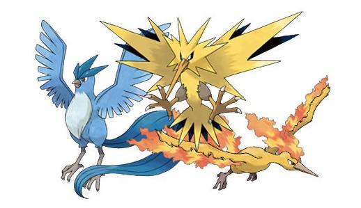 Articuno, Zapdos ja Moltres ovat lentäviä legendaarisia Pokémoneja.