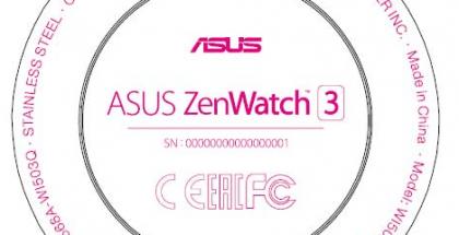 FCC:n tietojen sisältämä kuva Asus ZenWatch 3:n merkinnöistä.