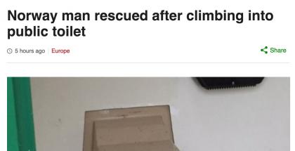 Muun muassa brittien BBC uutisoi näyttävästi norjalaismiehen epäonnisesta yrityksestä.