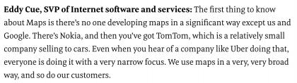 Eddy Cue mainitsee Nokian yhtenä kolmesta merkittävästä karttojen kehittäjästä.