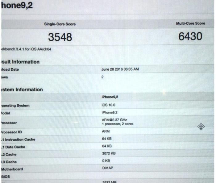 iPhone 6SE, iPhone 7 GeekBench