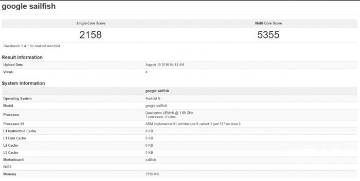 Tiedot GeekBenchissä Googlen ja HTC:n Sailfishistä.
