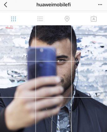 Kuvankaappaus Huawein Instagram-tilin profiilikuvista, joissa Makwan Amirkhani esiintyy kädessään Honor 8 -puhelin.