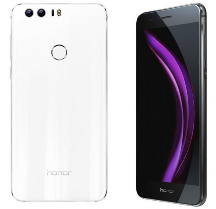 Honor 8 valkoisena ja mustana värivaihtoehtona.