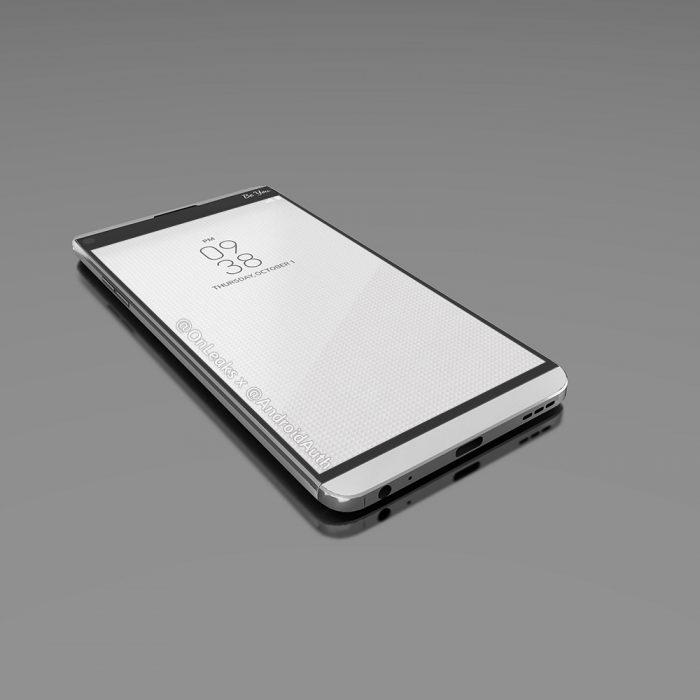 LG V20 OnLeaksin ja Android Authorityn julkaisemassa kuvassa edestä.
