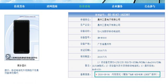 Note7 6 GB RAM Kiina