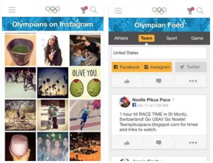 Rio 2016 Social Hub -sovellus.