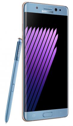 Samsung Galaxy Note7 sinisenä värivaihtoehtona.