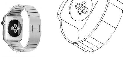 Vasemmalla Apple Watch, oikealla kuva Samsungin patenttihakemuksesta.