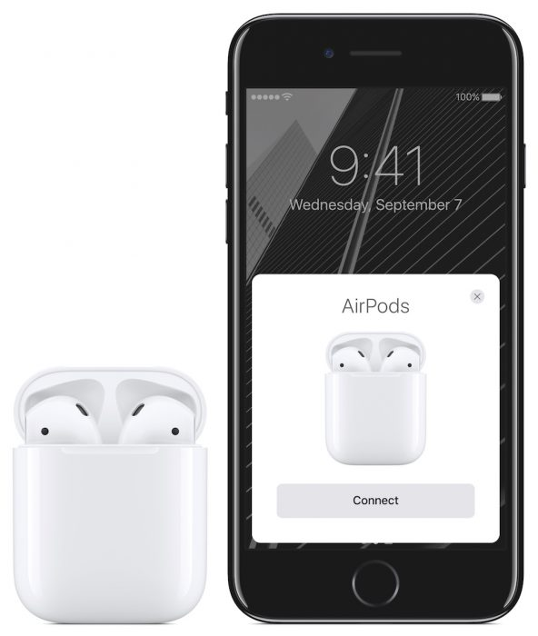 iPhone 7 ja AirPods.