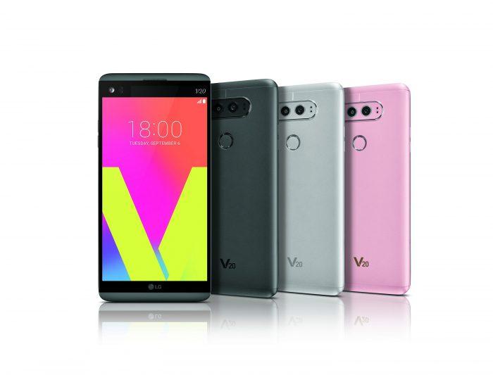 LG V20 eri väreissä.