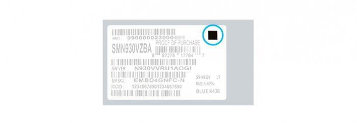 Turvallisten Note7-puhelinten myyntipakkauksessa on merkitty mustalla neliöllä.