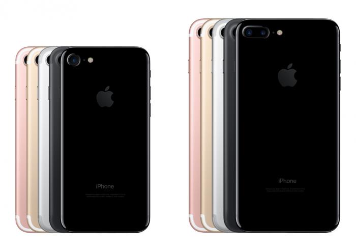 iPhone 7 ja iPhone 7 Plus eri värivaihtoehdoissa.