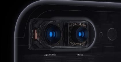 Applen iPhone 7 Plussan kaksoiskamerassa on laajakulma- ja telelinssit.