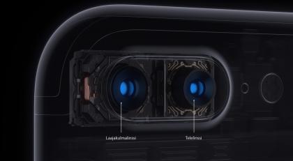 Applen kaksoiskamerassa on laajakulma- ja telelinssit.