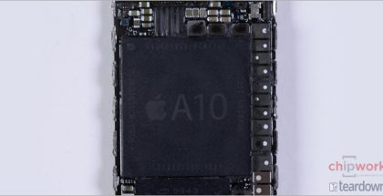 Apple A10 -järjestelmäpiiri Chipworksin kuvassa.