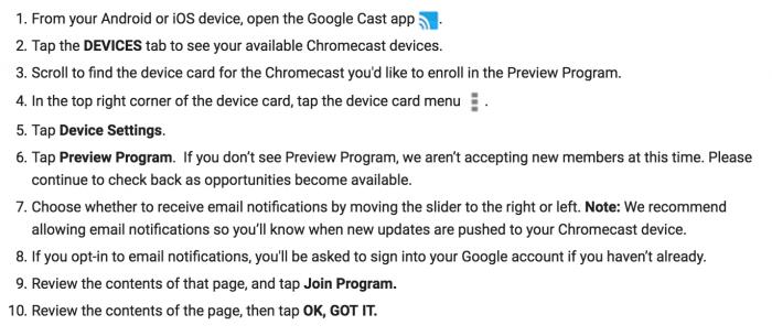 Googlen ohjeet Preview Program -ohjelmaan liittymiseksi.