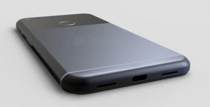 Kuvankaappaus videolta Google Pixel XL:n 3D-mallista. Yläosa on mustaa lasia.