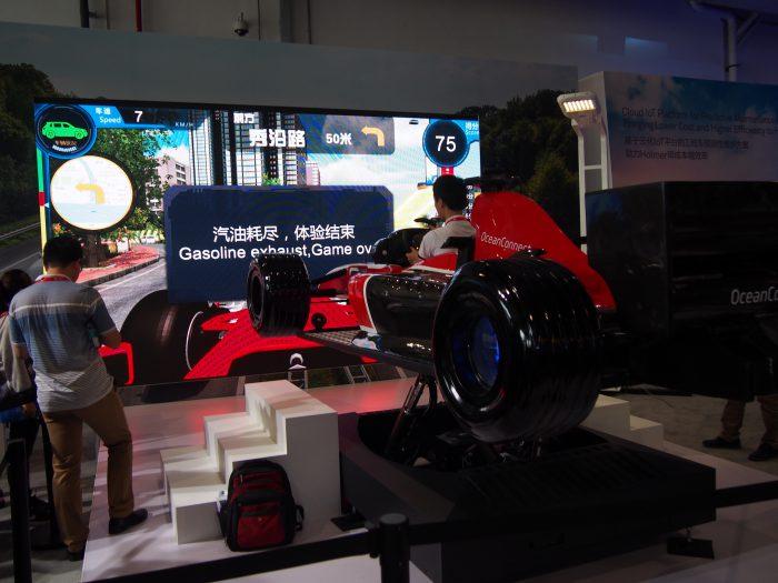 Huawei oli tuonut paikalle myös ajosimulaattorin. Tavoitteena oli kuitenkin ajaessa myös säästää polttoainetta riittävän vauhdin lisäksi.