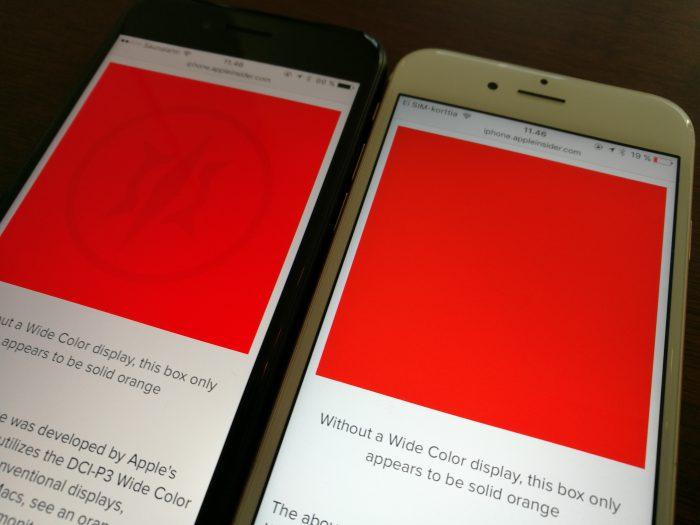 iPhone 7:n näyttö toistaa aiempaa laajemmin värejä, mikä näkyy testikuvan iPhone 6s:llä piiloon jäävien yksityiskohtien erottumisena.