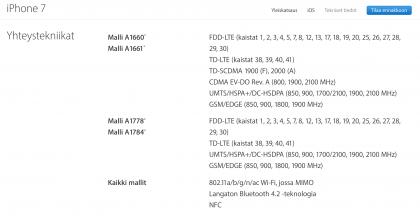 Applen antamat tiedot eri iPhone 7 ja iPhone 7 Plus -malleista.