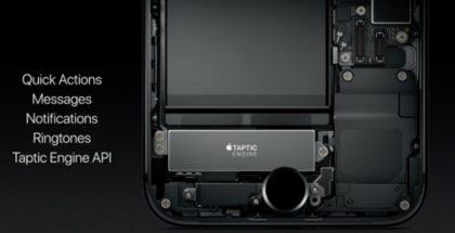 Kuvassa iPhone 7:n läpileikkauksessa Taptic Engine -värinämoottori. Taptic Engine API -rajapinta avaa värinämoottorin myös sovelluskehittäjille.