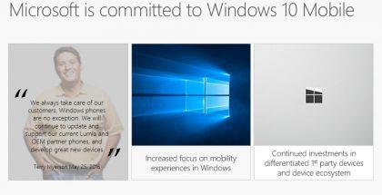 Näin Microsoft vakuuttaa sitoutumistaan Windows 10 Mobileen.