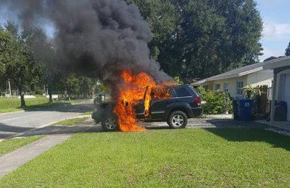 Väitetty Note7-räjähdys aiheutti myös Jeepin tulipalon. Palon syttymissyyksi ei ole kyetty vahvistamaan Note7:ää.