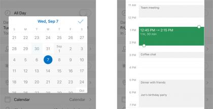 Outlook-kalenterin päivämäärän ja ajan valitsimet uudistuvat päivityksessä.