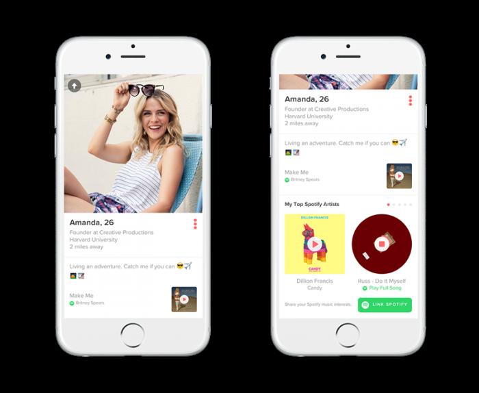 Valittu biisi Spotifysta näkyy Tinder-profiilissa, minkä lisäksi voi tsekata tarkemminkin kuunneltua.