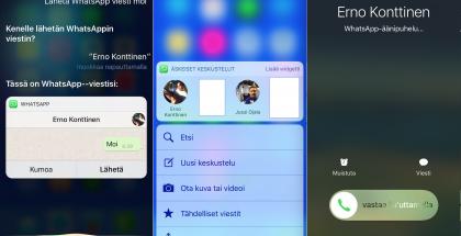 WhatsAppin iOS 10 -uudistuksia.