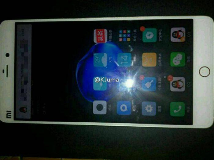 Väitetty Xiaomi Mi 5s vuotokuvassa - huomionarvoista pyöreä merkintä kotipainikkeesta kuvassa näytön oikealla puolella.