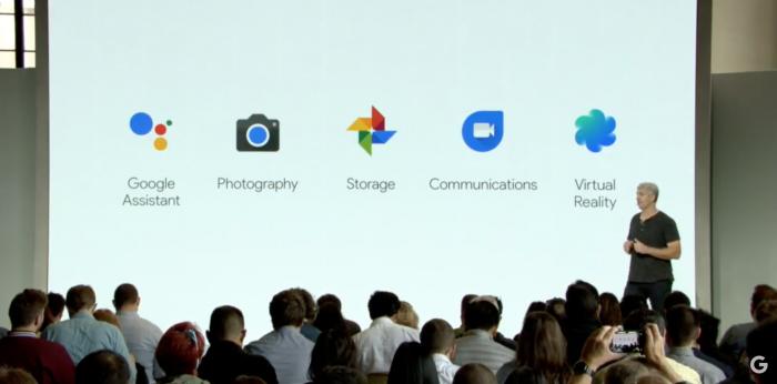 Google korosti Pixel-puhelimistaan erityisesti viittä osa-aluetta: näistä ainoastaan kamera on tiukasti vain laiteominaisuus. Google Assistant, Google Kuvat, Googlen viestintäsovellukset Allo ja Duo sekä Daydream-virtuaalitodellisuus ovat Googlen palvelujen ja sisältöjen ydintä.