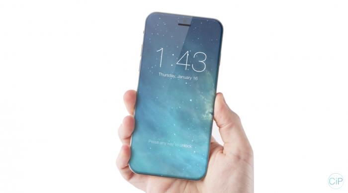 ConceptsiPhonen näkemys iPhonesta, jossa koko etupuoli on näyttöä.