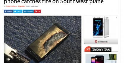 Samsungin Galaxy Note7 -katastrofi syveni, kun myös vaihtolaitteet alkoivat pamahdella. Ensimmäinen tällainen tapaus sattui lentokoneessa.