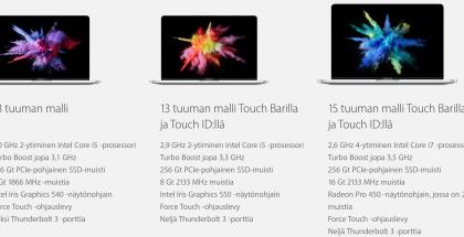 Applen kolme uutta MacBook Pro -malliversiota.