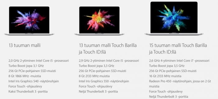 Applen kolme uutta MacBook Pro -malliversiota. Ilman Touch Baria ja Touch ID:tä varustetun perusversion saa lähes ilman odotusta.