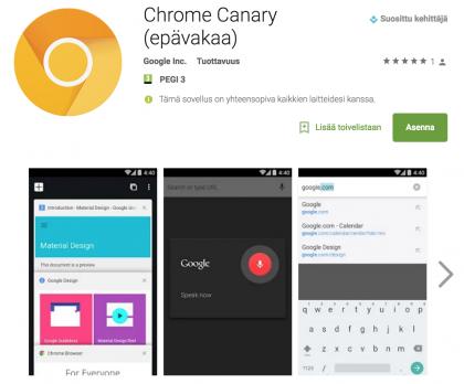 Chrome Canary on saatavilla Google Playsta.