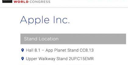 Apple oli listattuna MWC-näytteilleasettajaksi.