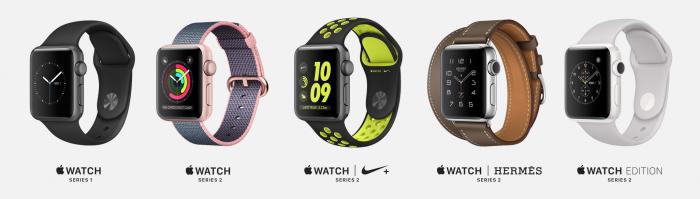 Apple Watchin eri nyt tarjolla olevat versiot. Toisen sukupolven uutuus on Nike-yhteistyö.