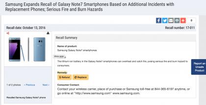 CPSC ilmoittaa uudesta Galaxy Note7 -takaisinkutsusta.