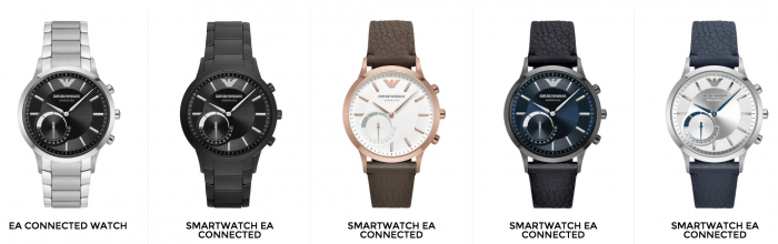 Emporio Armanin älykäs kello on tarjolla eri tyyleissä.
