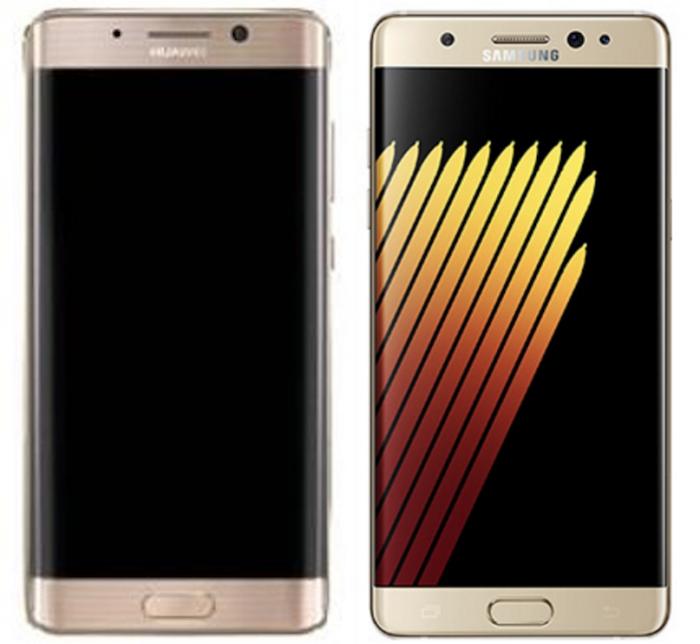 Huawei Mate 9, koodinimi Long Island, ja Samsungin Galaxy Note 7. Huawein tuleva uutuus muistuttaa hyvin läheisesti Samsungin ongelmapuhelinta.