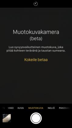 iOS 10.1:n beetatestiversio toi mukanaan Muotokuva-kuvaustilan beetatestiversiona.
